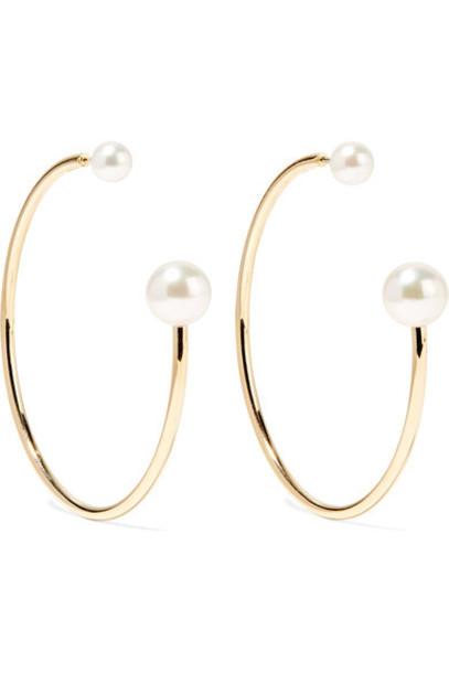 pearl earrings hoop earrings gold jewels