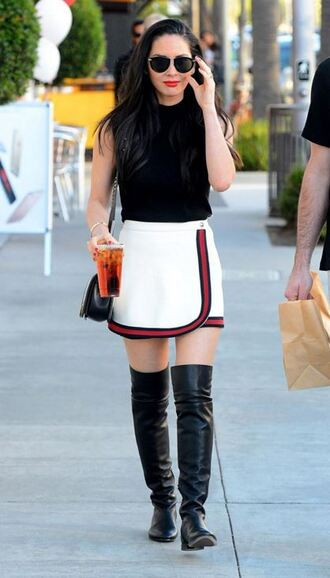 skirt mini skirt olivia munn boots top