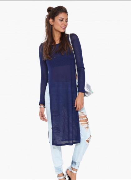 blue shirt sweater shirt dress slitsontheside sweater sweater dress dress