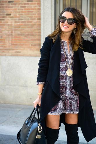 lovely pepa blogger dress sunglasses coat shoes bag jewels