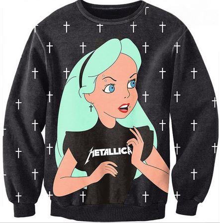 Alice metallica printed sweatshirt from tumblr fashion on storenvy