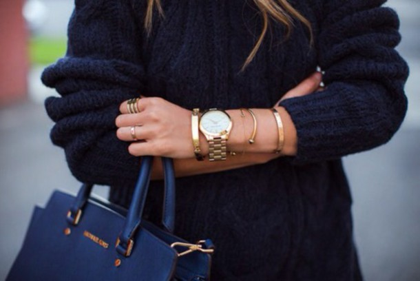 sweater blue sweat winter sweater gold bracelet rings and tings hat jewels