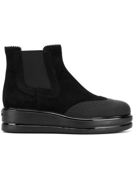 Hogan women classic boots leather suede black shoes