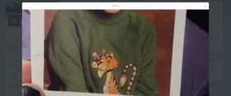 top jumper tiger print tiger face green jumper