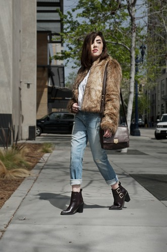 platforms for breakfast blogger bag faux fur jacket acid wash jeans