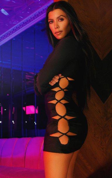 dress bodycon dress cut-out dress black dress mini dress kourtney kardashian kardashians