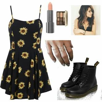 dress sunflower dress shoes grunge 90s style love cute dress