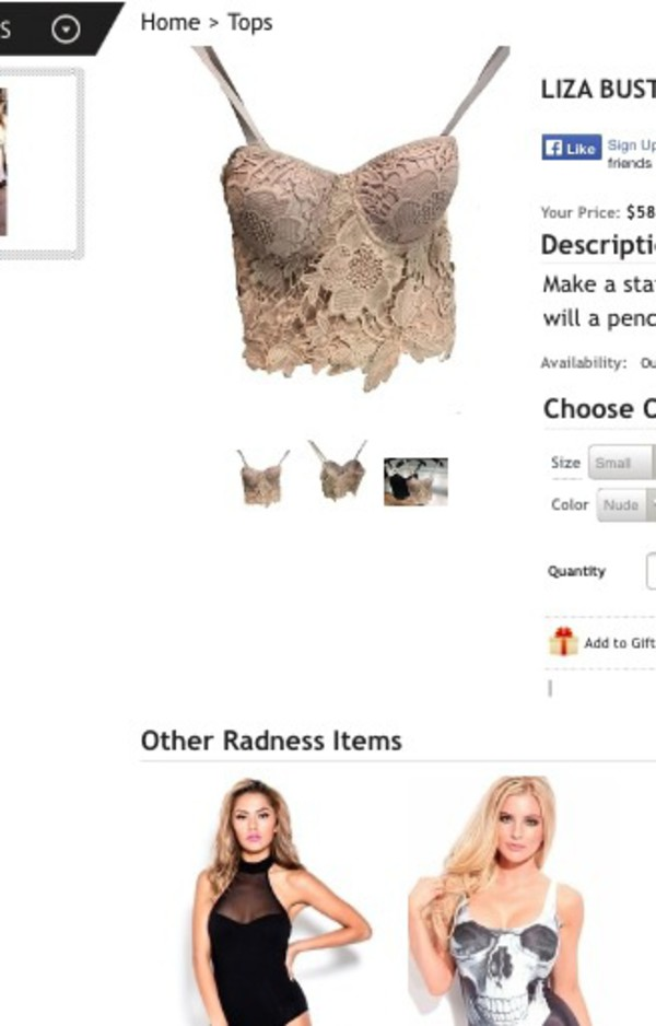 top tan lace bustier crop tops shuku newyork sold out
