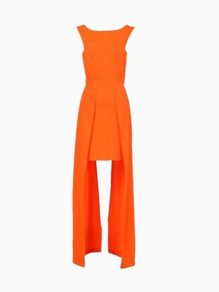 dress orange dress backless dress