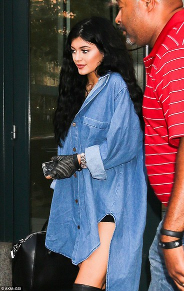 denim shirt kylie jenner denim denim blouse denim blouse fishnet gloves kylie jenner oversized shirt oversized
