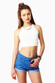 Yer Sleeveless Fitted Crop Top in White