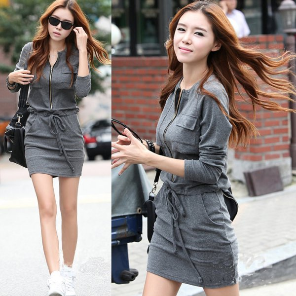 Fashion Korean Women Long Sleeve Dress Casual Round Collar Zipper Pocket Skirt