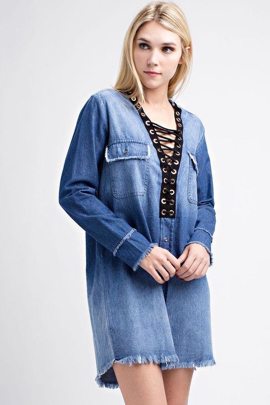 Hot & Delicious long sleeve jean mini SHIRT dress tie lace up frayed denim s m L