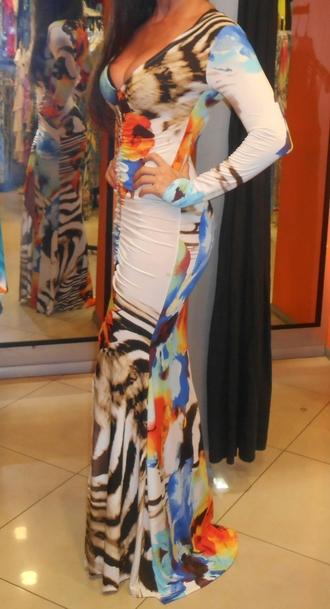 dress multi colored dress sexy party dresses v neck dress party dress long sleeve dress