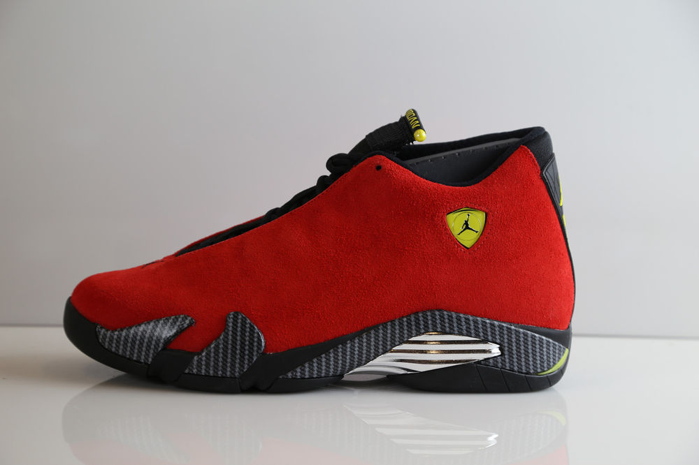 Nike air jordan retro 14 ferrari chilling red yellow 654459