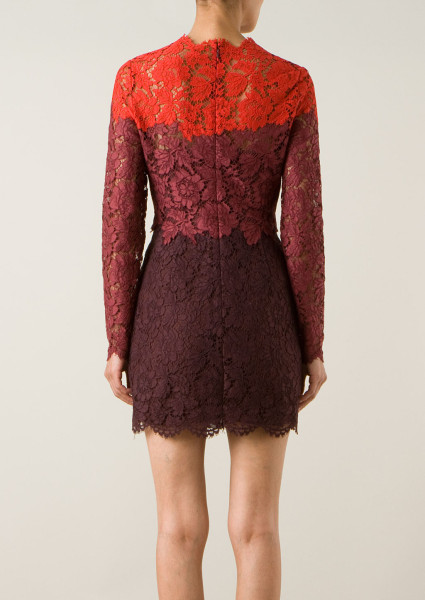 Valentino Red Red and Burgundy Lace Openwork Dress