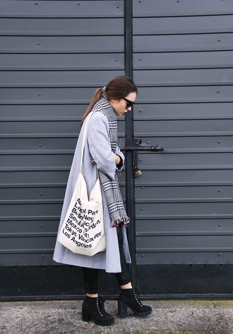 lila janowska blogger pants shirt shoes bag scarf coat sunglasses