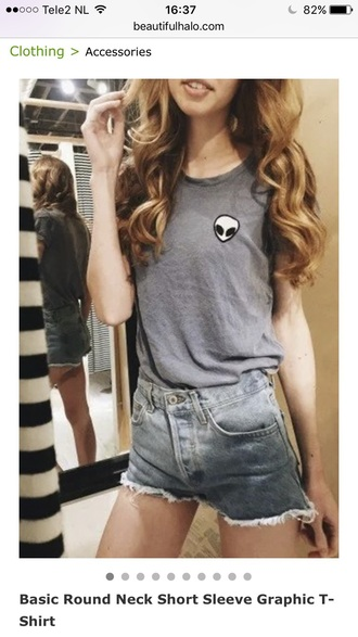 shirt t-shirt alien fashion style grey summer teenagers casual beautifulhalo