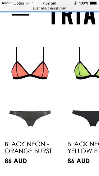 orange swimwear mesh bikini mesh peach leather triangle bikini