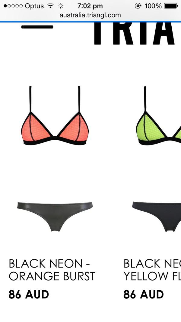 swimwear mesh bikini mesh peach orange leather triangle bikini