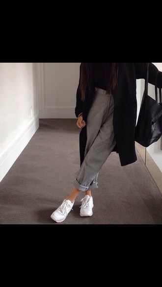 pants gray pants oversized coat black coat coat boyfriend jeans white shoes cool trendy style stylish teenagers fashion inspo chill casual grunge on point clothing