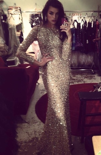 dress sparkle prom long sleeves