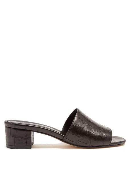 MARYAM NASSIR ZADEH mules leather crocodile black shoes