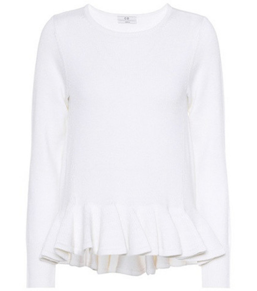 Co Peplum hem wool sweater in white