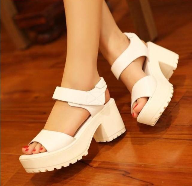 New women lady retro peep toe platform mid heel sandals fashion shoes preppy