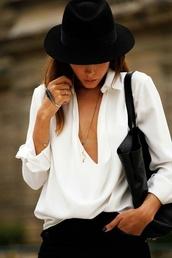 shirt,white,hat,black,blsck,blouse,white blouse,top,white top,deep v top,deep v front blouse,elegant,hot,flowy,trendy,feminine,classy,luxury,luxurious,european style,spring,spring outfits,travel,streetstyle,streetwear,gorgeous,tumblr,tumblr outfit,boyish,black hat,v neck,cream or white,plunge v neck,plunge neckline