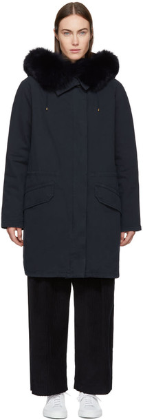Army By Yves Salomon parka long fur classic navy coat