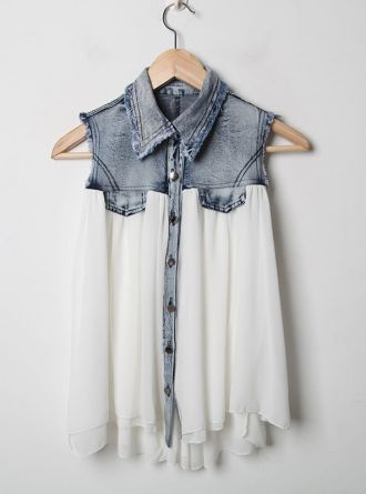 Stiching Denim Lapel Sleeveless White Chiffon Shirt:Buy at Sheinside ($20-50) - Svpply
