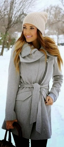 coat ombre coat ombre me ar winter coat jacket clothes winter jacket gray jacket grey wrap dress warm streetwear trendy rose wholesale long sleeves gradient Stylish Turn-Down Collar Long Sleeve Zip Up Spliced Women's Belted Coat fall outfits cozy