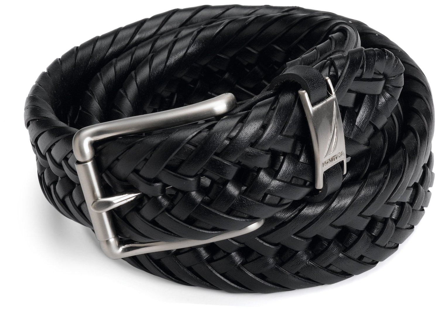 Nautica men's black braided woven weave leather belt size 32 34 36 38 40 42 8426