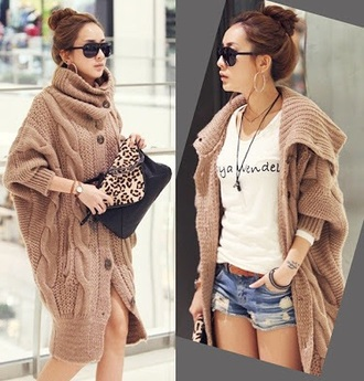 sweater loose turteneck brown cardigan warm winter outfits knitted