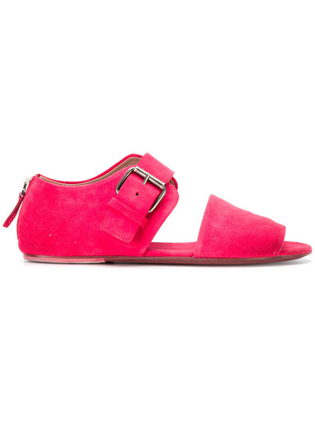 oversized women sandals leather purple pink shoes