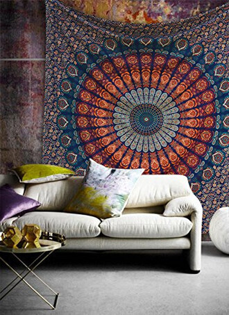 home accessory tapestry wall hanging mandala home decor hippie bohemian peacock queen bedspread coverlet throw blanket bedsheet holiday gift cheap gift blue beach beach blanket beach throw