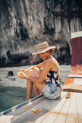 hat tumblr sun hat swimwear one piece swimsuit floral floral swimwear shorts denim denim shorts