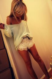 shorts,lace,clothes,high waisted,girl,sweater,oversized sweater,mint sweater,lace shorts,white shorts