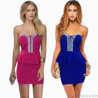 dress evening dress party dress flounced rhinestones shiny
