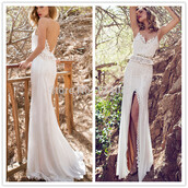 dress,two pieces wedding dresses,lace wedding dress,split side bridal gowns 2015,spaghetti straps dresses,v neck sleeveless prom dresses,column sheath evening dresses