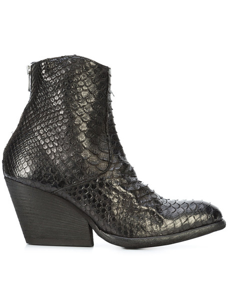 OFFICINE CREATIVE women python ankle boots leather black shoes