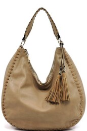 bag,taupe,tassel,handbag,hobo bag,stitched
