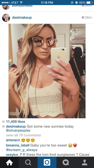 top cute desiperkins desi perkins desimakeup necklace neutral cute top blonde hair iphone iphone 6 case nails purple nails lavender coachella sunglasses gold chain necklace gold iphone gold iphone cover crop tops long hair bronze phone cover