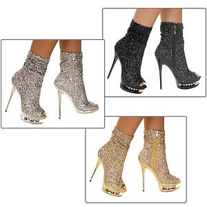 Diamond 31 Stiletto 5 5 Quot High Heel Sequin Ankle Boots Open