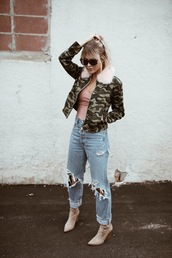 cara loren,blogger,top,jacket,jeans,shoes,camo jacket,ankle boots,ripped jeans