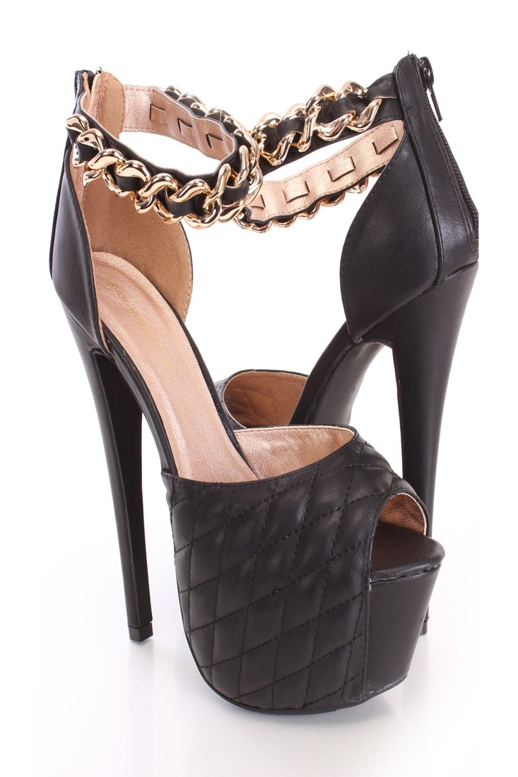 Black quilted platform high heels faux leather