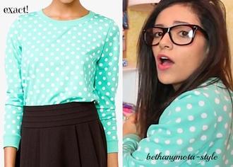 shirt mint polka dots beth cute