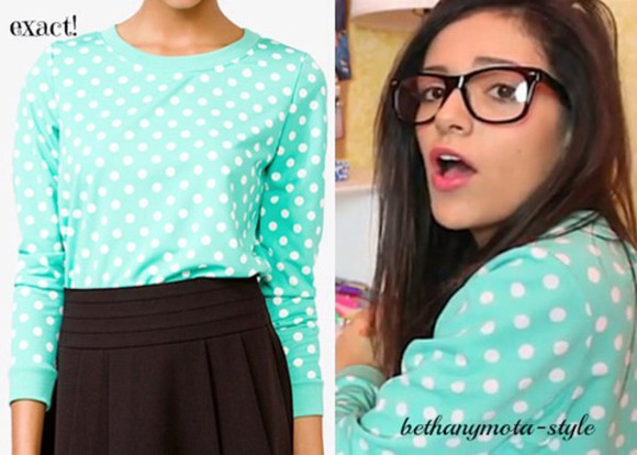 shirt polka dot mint beth cute