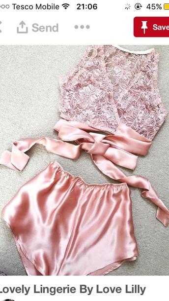pajamas baby pink silk lace shorts crop tops
